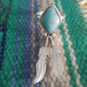 Navajo Turquoise feather dangle ring
